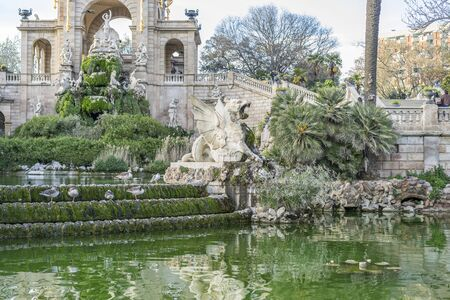 Golden horses and gargoyles in the Citadel Park, Located in the neighborhood of La Ribera, the Ciutadella Park is the largest park in Barcelona. Spain