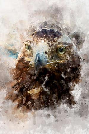 Watercolor, eagle, diurnal bird of prey with beautiful plumage and yellow beak
