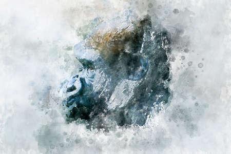watercolor, Head Mother, huge and powerful gorilla, natural environment, huge gorilla eating plants quietly Foto de archivo