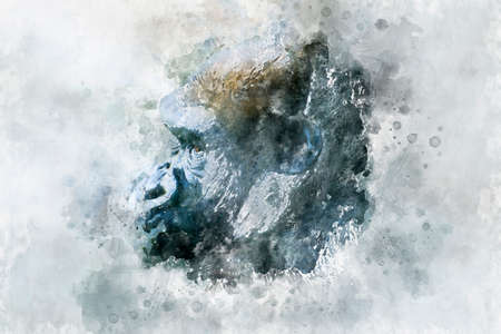 watercolor, Head Mother, huge and powerful gorilla, natural environment, huge gorilla eating plants quietly