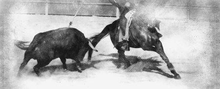 Bullfight on horseback. Typical Spanish bullfight. black and white drawing