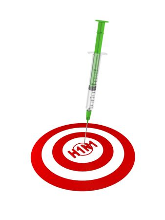 Syringe and target. H1N1 virus (Swine Flu) in the center of the target. photo