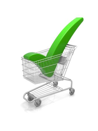 home shopping: Shopping cart with a green check mark. Part of a series. Stock Photo