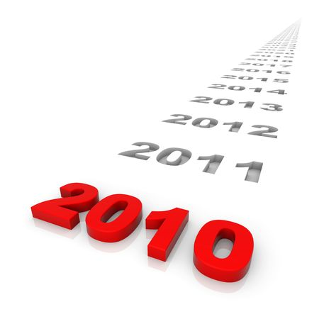 New year 2010 and the years ahead. Part of a series. Stock Photo