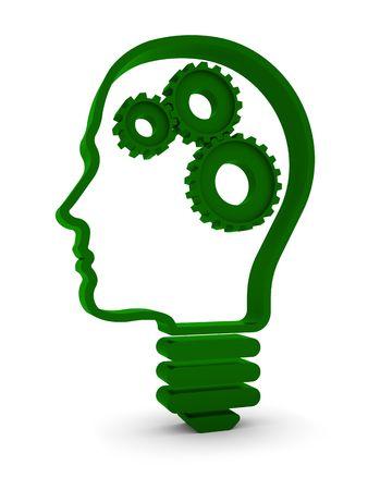 head light: Humano cabeza  luz de l�mpara con partes mec�nicas dentro. Parte de una serie.