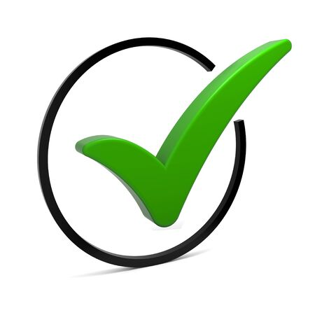 Round check box with green check mark isolated on white. Part of a series. Stock Photo - 6180703