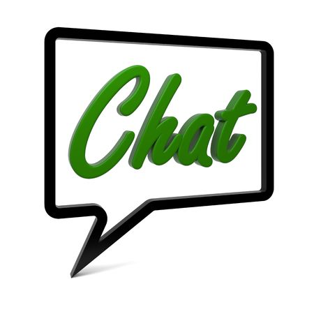 chat: Speech bubble with CHAT text isolated on white. Part of a series.