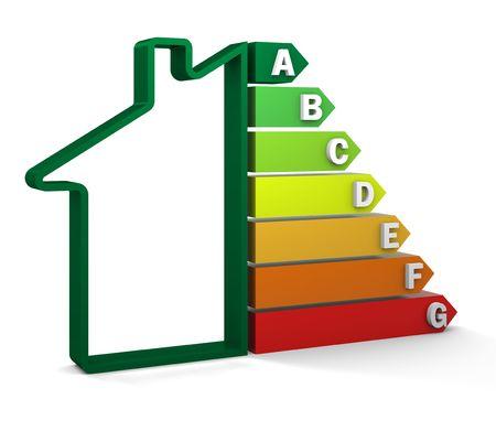 eficiencia energetica: Vivienda eficiencia energ�tica con sistema de certificaci�n de clasificaci�n. Parte de una serie. Foto de archivo