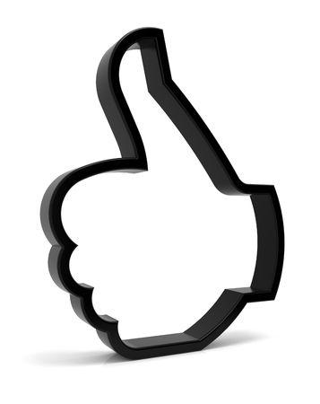 thumbs up icon: Pulgares arriba s�mbolo. Icono negro tridimensional aislado en blanco. Parte de una serie.  Foto de archivo