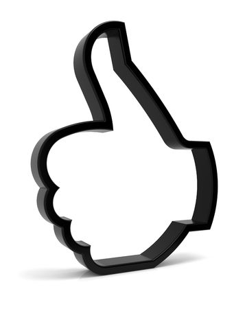 thumbs up symbol: Thumbs up symbol. Three-dimensional black icon isolated on white. Part of a series.