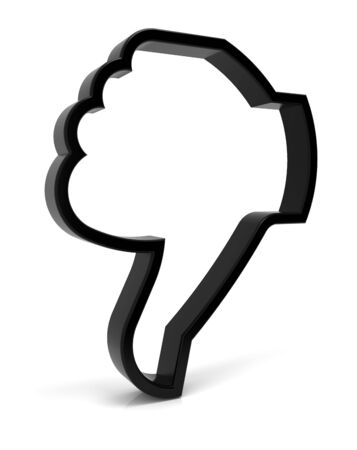 imperfection: Thumbs down symbol. Three-dimensional black icon isolated on white. Part of a series. Stock Photo