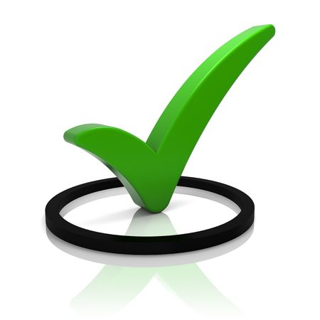 tick symbol: Round check box with green check mark isolated on white. Part of a series.