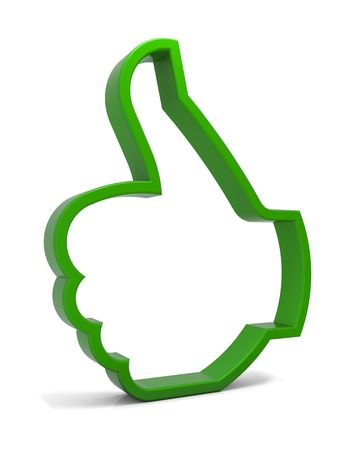 green thumb: Thumbs up symbol. Three-dimensional green icon isolated on white. Part of a series.