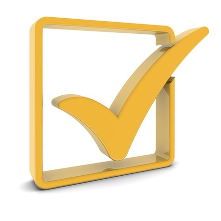 Golden check box and tick symbol isolated on white. Part of a series. Stock Photo