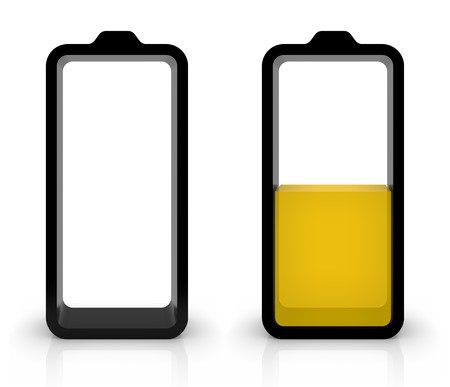 battery acid: Battery charging or discharging symbols isolated on white. Part of a series. Stock Photo