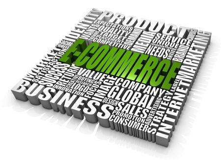 logos empresas: Grupo de e-commerce de palabras relacionadas. Parte de una serie de conceptos de negocio.  Foto de archivo