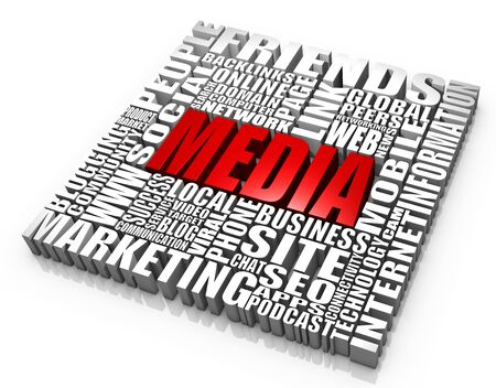 video marketing: Group of media related words. Part of a series of business concepts.