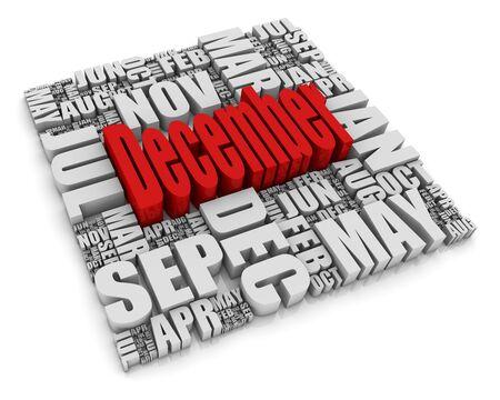 calendario octubre: Texto 3D que representan a los doce meses del a�o. Parte de una serie de conceptos de calendario.  Foto de archivo