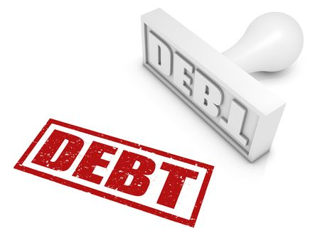 Debt rubber stamp. Part of a series of stamp concepts. Stock Photo - 7818936