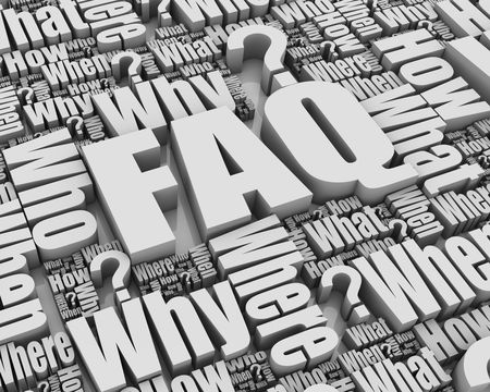 faqs: Group of 3D words. Part of a series. Stock Photo
