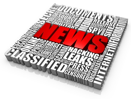 military press: Group of news leaks related 3D words. Part of a news series. Stock Photo