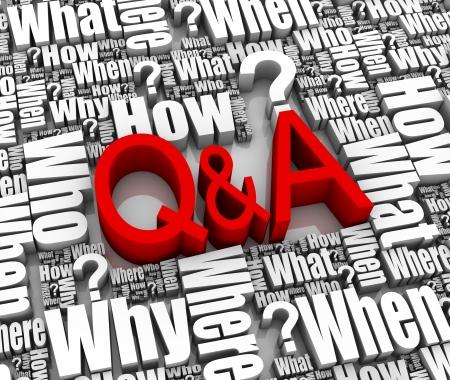 Groep Q&A gerelateerde 3D woorden. Deel van een serie.