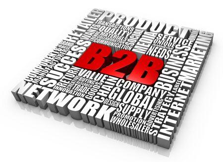 b2b: Grupo de B2B de 3D de palabras relacionadas. Parte de una serie.