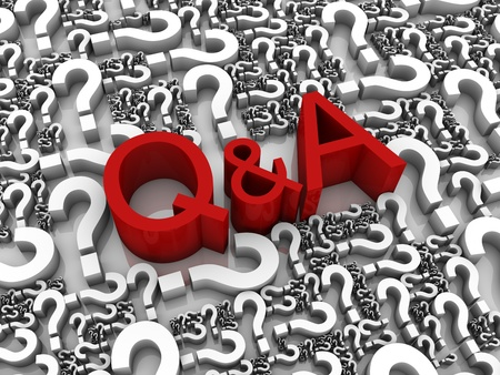 Q&A 3D text surrounded by question marks. Part of a series. Stock Photo - 9262502