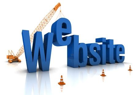 white website: Construction site crane building a blue 3D text. Part of a series.