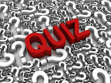 quiz: Success 3D text surrounded by question marks. Part of a series. Stock Photo