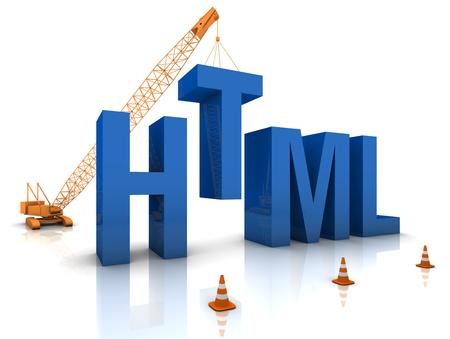 html: Construction site crane building a blue HTML 3D text. Part of a series.