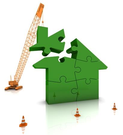 cantieri edili: Gru di costruzione sito costruendo una casa verde. Parte di una serie. Archivio Fotografico
