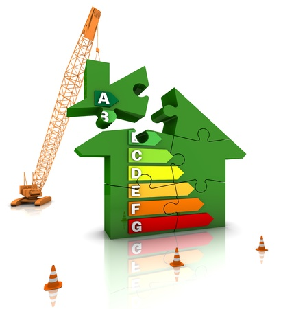 energy performance certificate: Construction site crane building an energy efficient home. Part of a series.