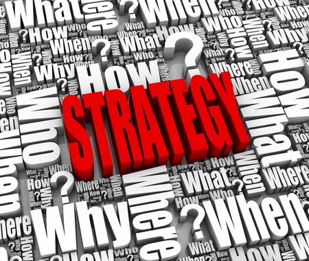 who: Group of strategy related 3D words. Part of a series. Stock Photo