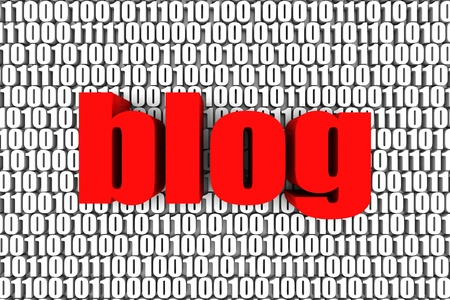 Blog and binary code 3d text. Part of a series. photo