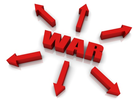 outwards: WAR 3D text with arrows pointing outwards. Part of a series. Stock Photo