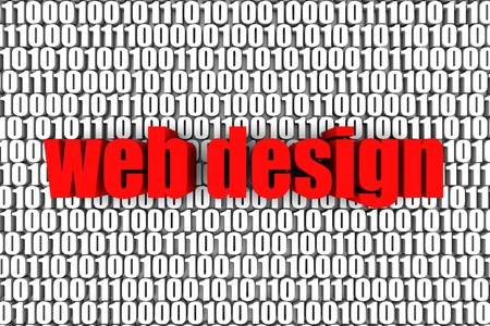 Web design and binary code 3d text. Part of a series. Stock Photo - 9670795