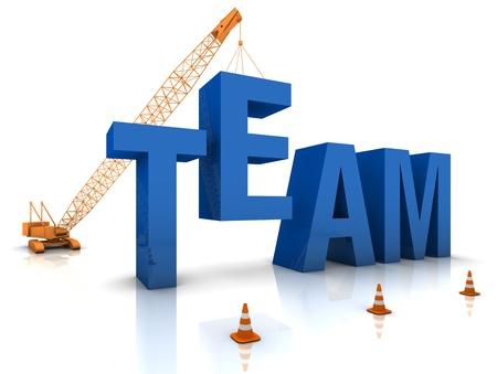 team building: Mobile crane building a blue 3D text. Part of a series.