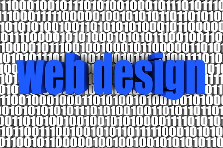 Web design and binary code 3d text. Part of a series. Stock Photo - 9743293