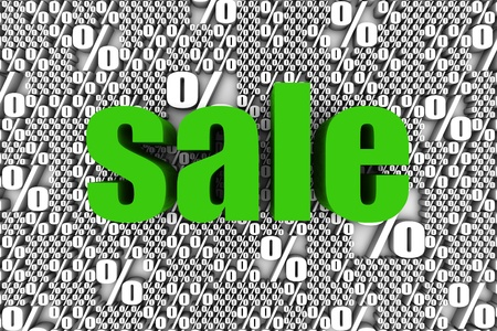 commercial event: SALE 3D text surrounded by percentage sign symbol. Part of a series.