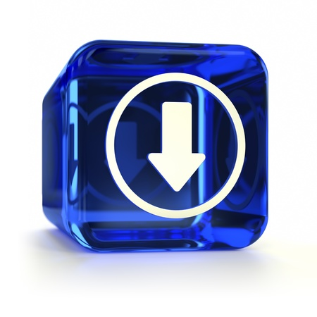 downloading content: Blue glass download computer icon. Part of an icon set.