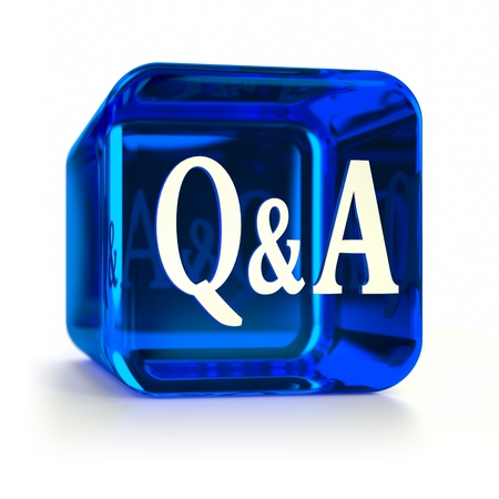 qa: Blue Q&A computer icon. Part of an icon set. Stock Photo