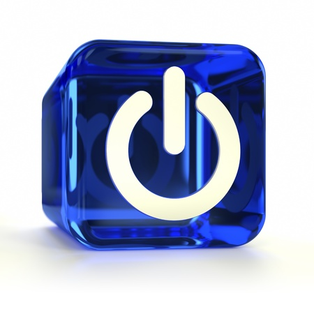 Blue Power On computer icon. Part of an icon set.