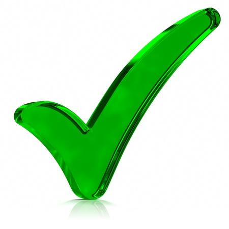 緑色のガラスのチェック マークの記号。シリーズの一部です。