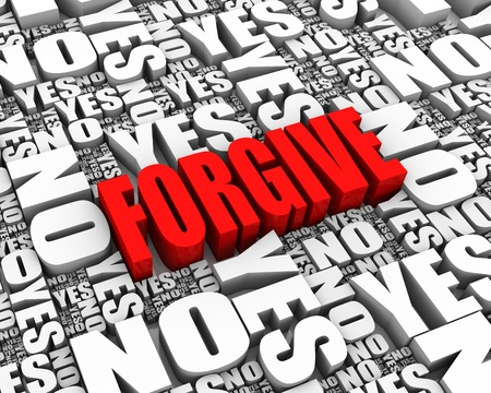 FORGIVE 3D text surrounded by YES and NO words. Part of a series. Stock Photo - 13886324