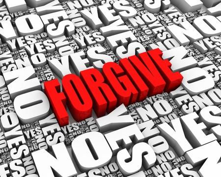 to forgive: PERDONAR texto en 3D rodeado de SI y no hay palabras. Parte de una serie.