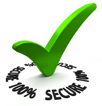 secure: Circular shaped 3D text arround a green check mark. Part of a series. Stock Photo