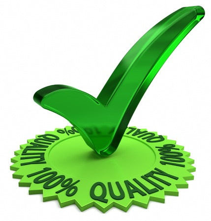 quality guarantee: Circular shaped 3D text arround a green check mark. Part of a series. Stock Photo