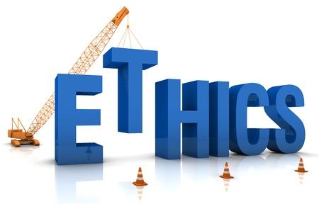 ethics: Construction site crane building a blue 3D text. Part of a series.
