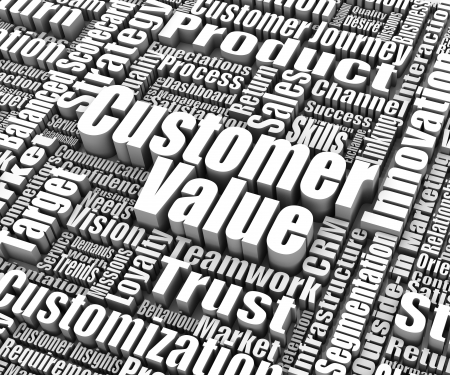 valor: Grupo de los clientes valoran las palabras relacionadas. Parte de una serie concepto de negocio.